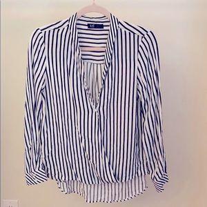 Cross over collarless blouse from Zara